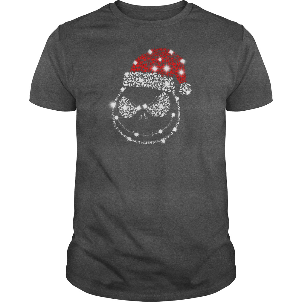 Jack Skellington wearing Santa red hat Christmas glitter shirt guy tee