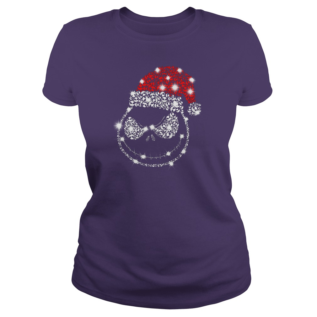 Jack Skellington wearing Santa red hat Christmas glitter shirt lady tee