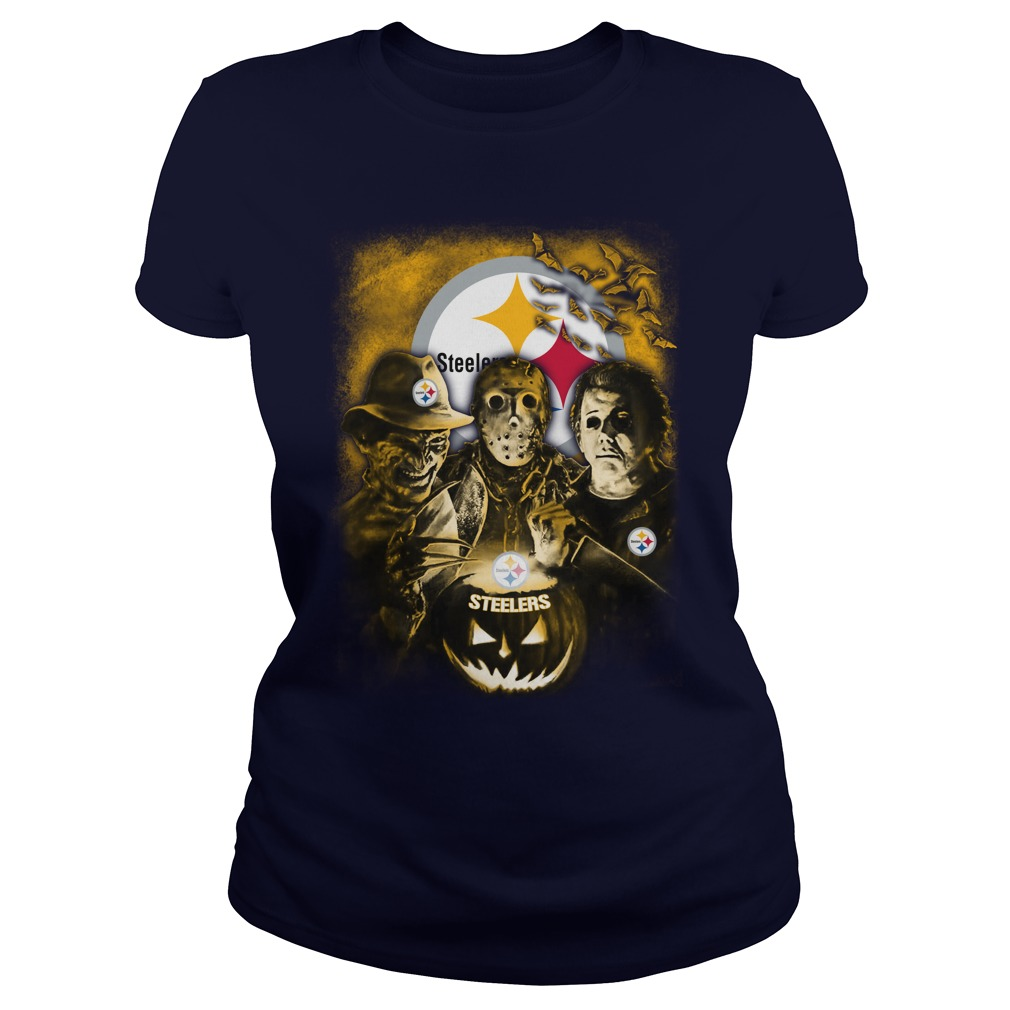 Jason, Michael Myers, Freddy Krueger Pittsburgh Steelers shirt lady tee