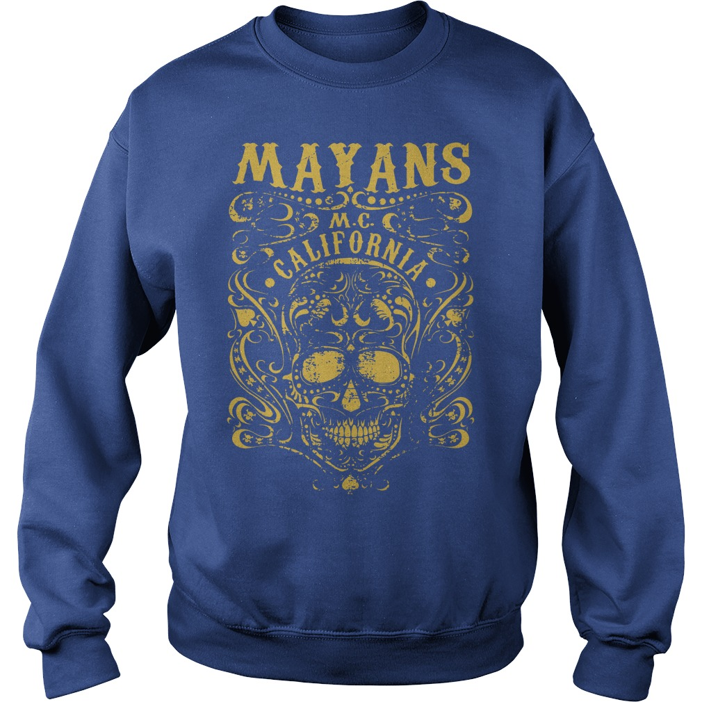 Mayan Motorcycle Club Vintage Gold Skull California shirt sweat shirt