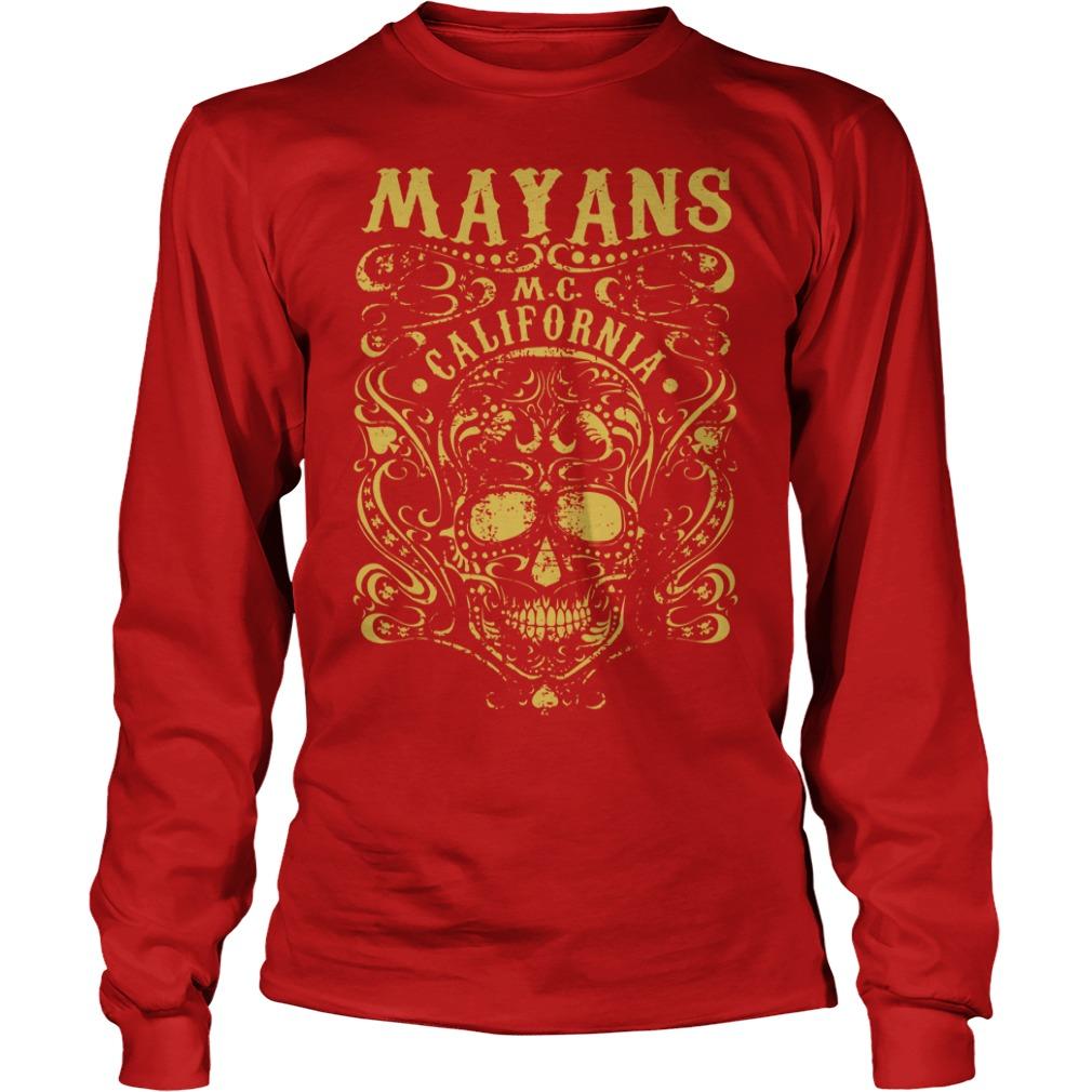 Mayan Motorcycle Club Vintage Gold Skull California shirt unisex longsleeve tee