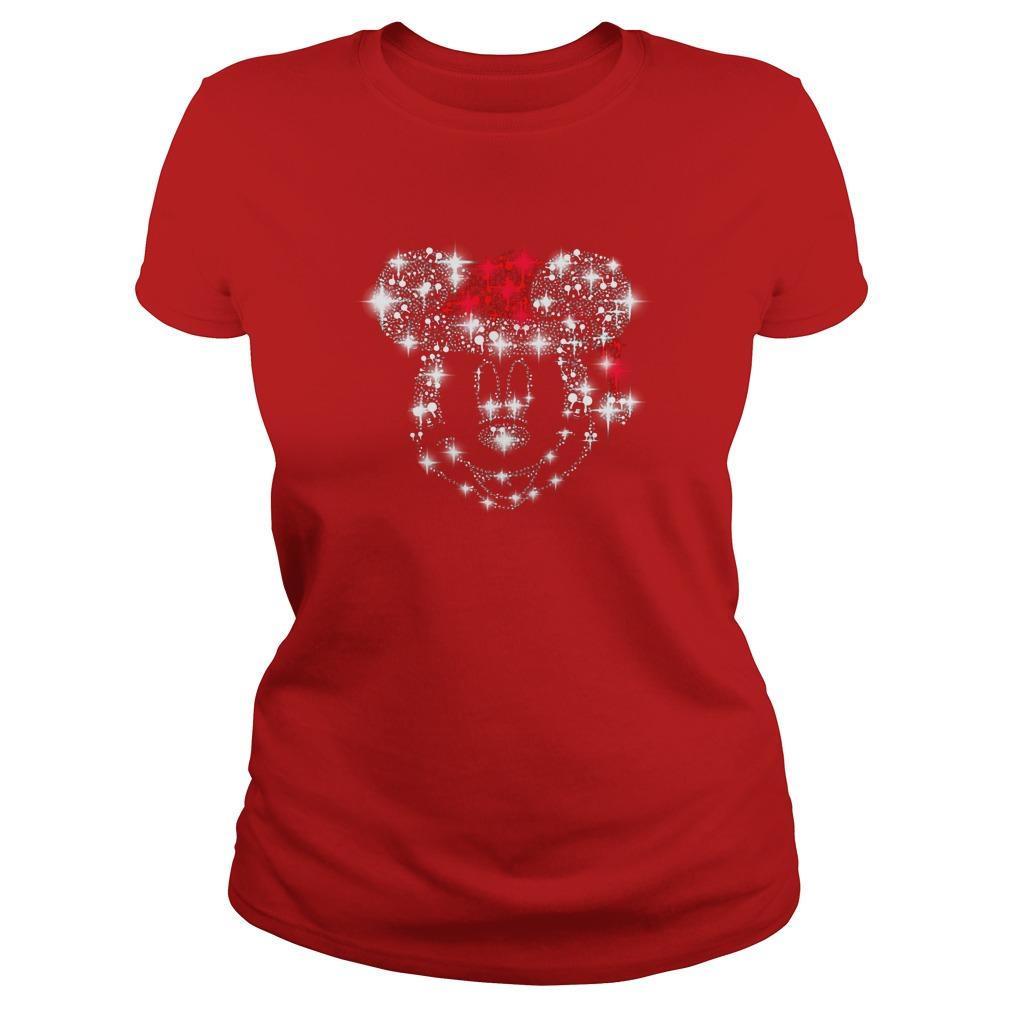 Mickey face wearing Santa red hat Christmas glitter shirt lady tee