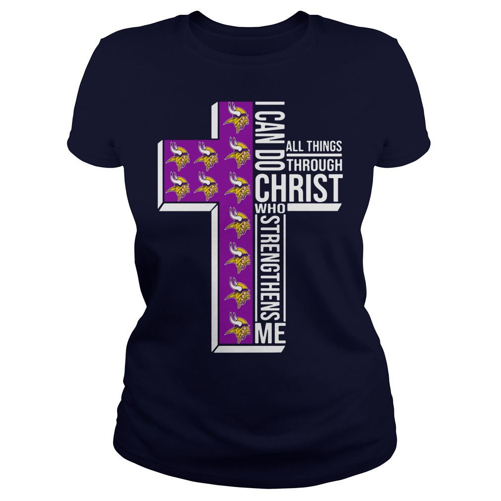 Minnesota Vikings I can do all things through Christ who strengthens me shirt lady tee