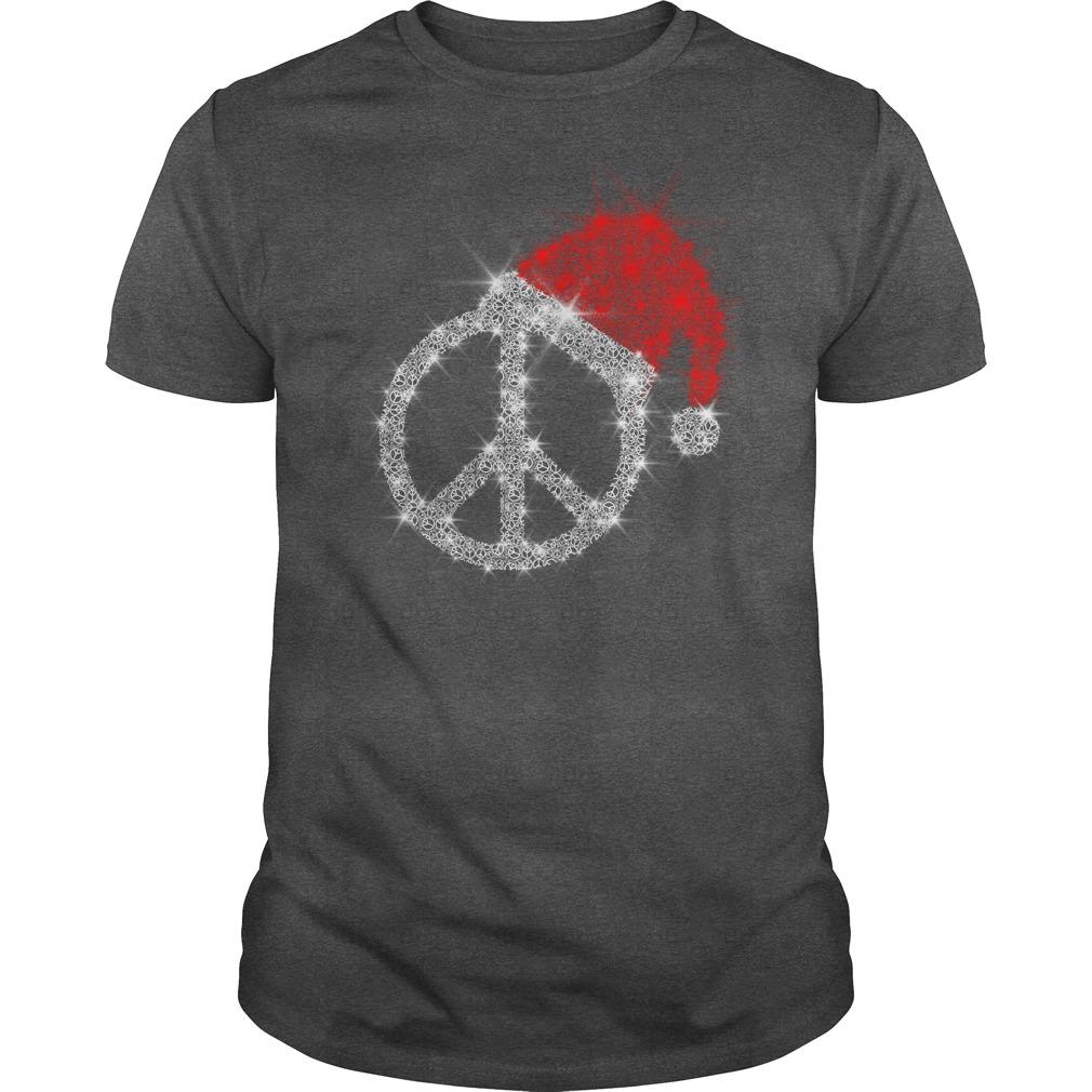 Peace Sign wearing Santa red hat Christmas glitter shirt guy tee