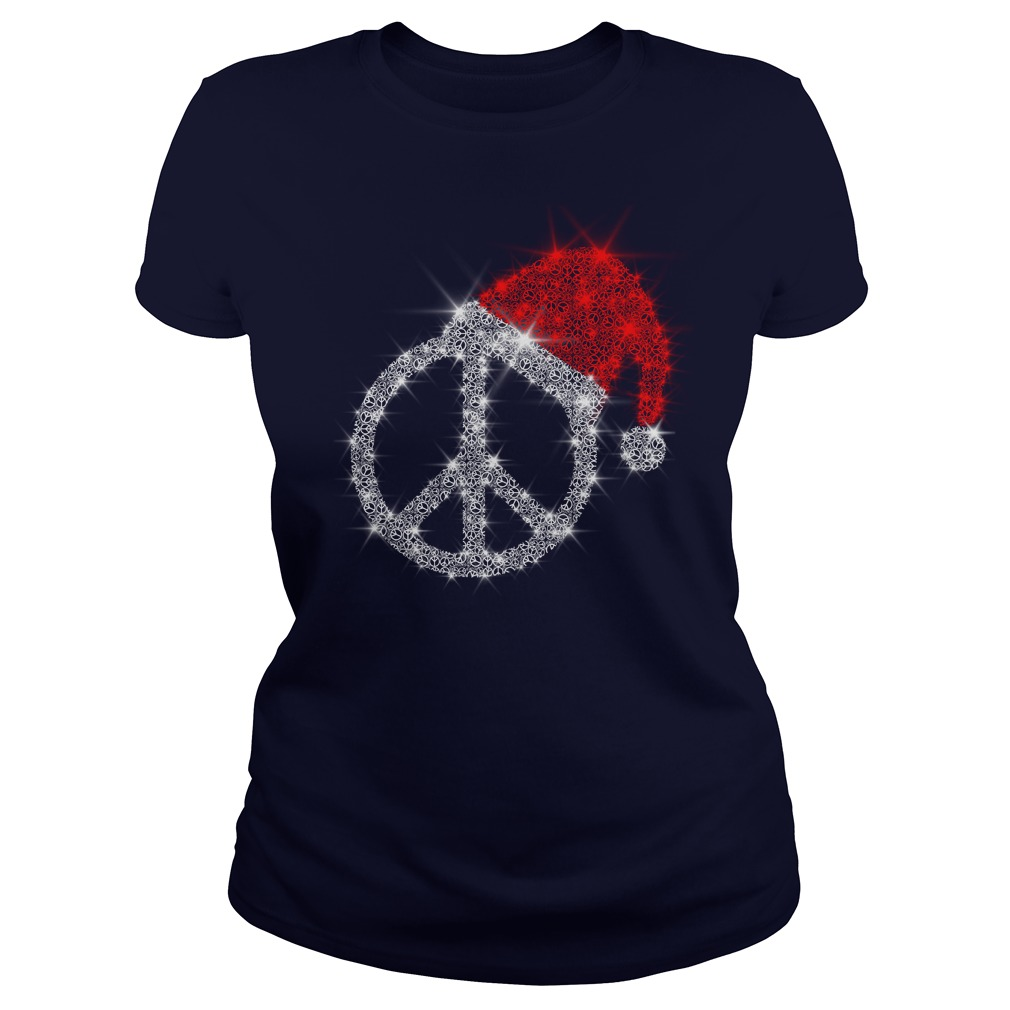 Peace Sign wearing Santa red hat Christmas glitter shirt lady tee