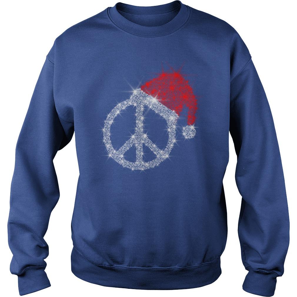 Peace Sign wearing Santa red hat Christmas glitter shirt sweat shirt