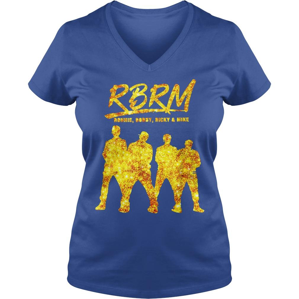 RBRM Ronnie Bobby Ricky & Mike gold shirt lady v-neck