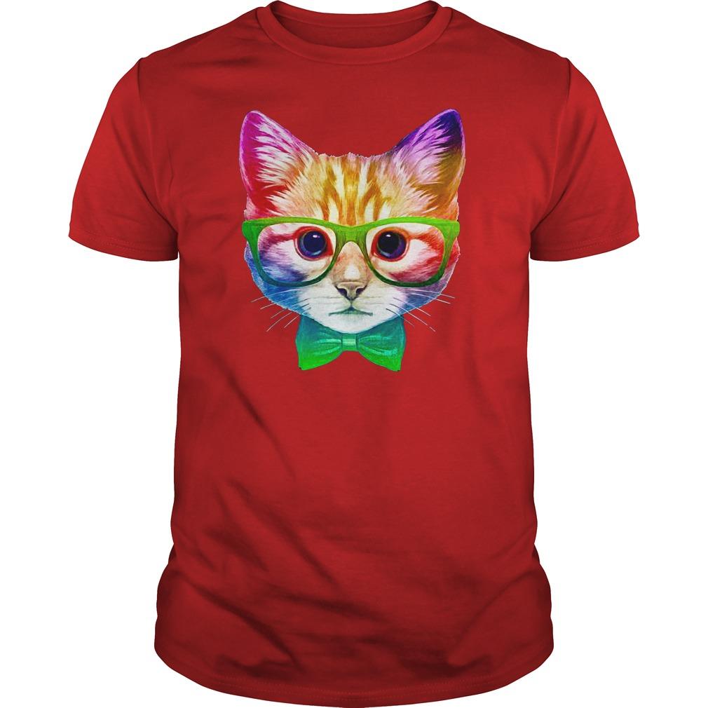 Rainbow Academicat - Skeptical Kitten shirt guy tee