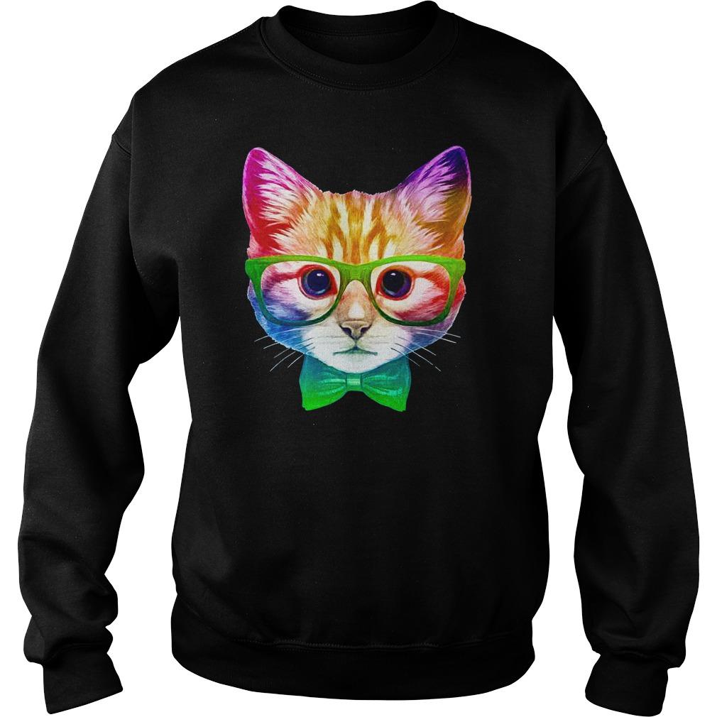 Rainbow Academicat - Skeptical Kitten shirt sweat shirt