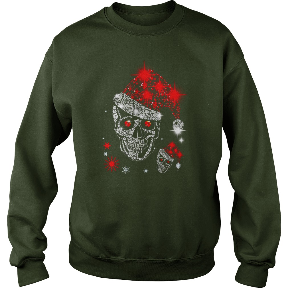 Skull wearing Santa red hat Christmas glitter shirt sweat shirt