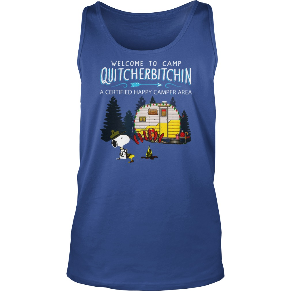 Snoopy and Woodstock Welcome to camp quitcherbitchin a certified happy camper area shirt unisex tank top