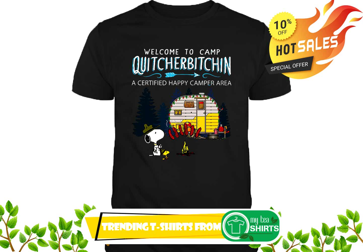 Snoopy and Woodstock Welcome to camp quitcherbitchin a certified happy camper area shirt