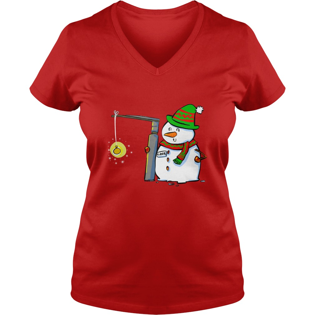 Snowman with a Miller 2 Anesthesia Christmas shirt lady v-neck