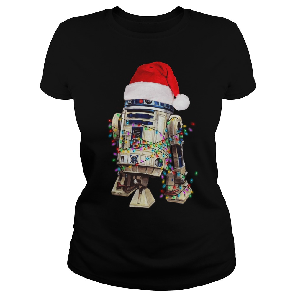 Star Wars R2-D2 Christmas led light shirt lady tee