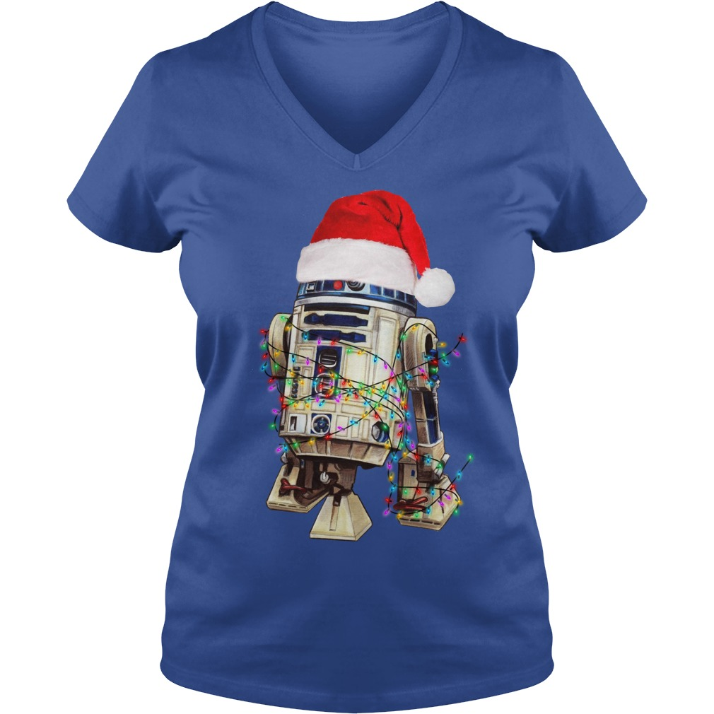Star Wars R2-D2 Christmas led light shirt lady v-neck