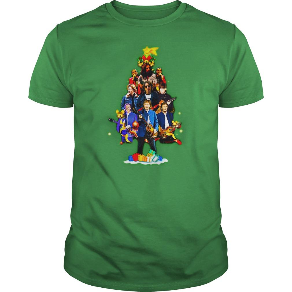 The Beatles Christmas tree shirt guy tee