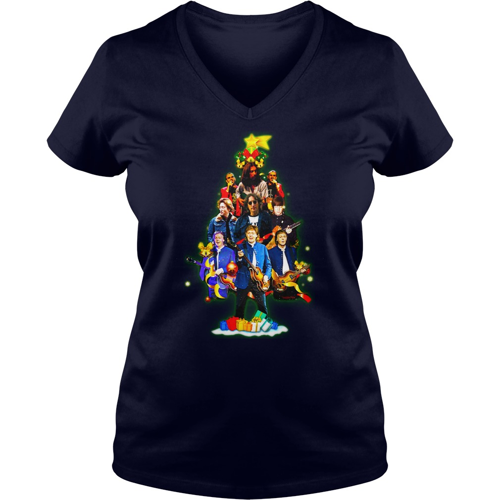 The Beatles Christmas tree shirt lady v-neck
