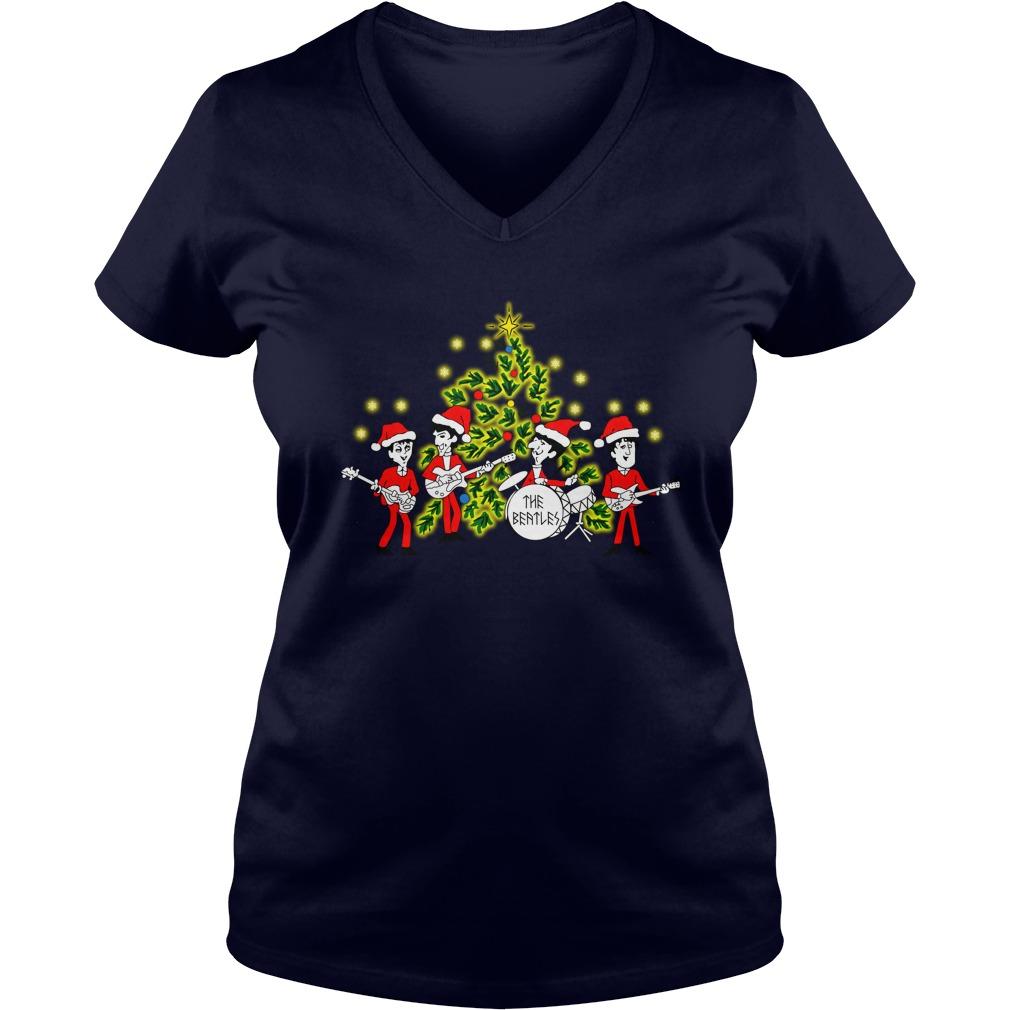 The Beatles singing Christmas tree shirt lady v-neck