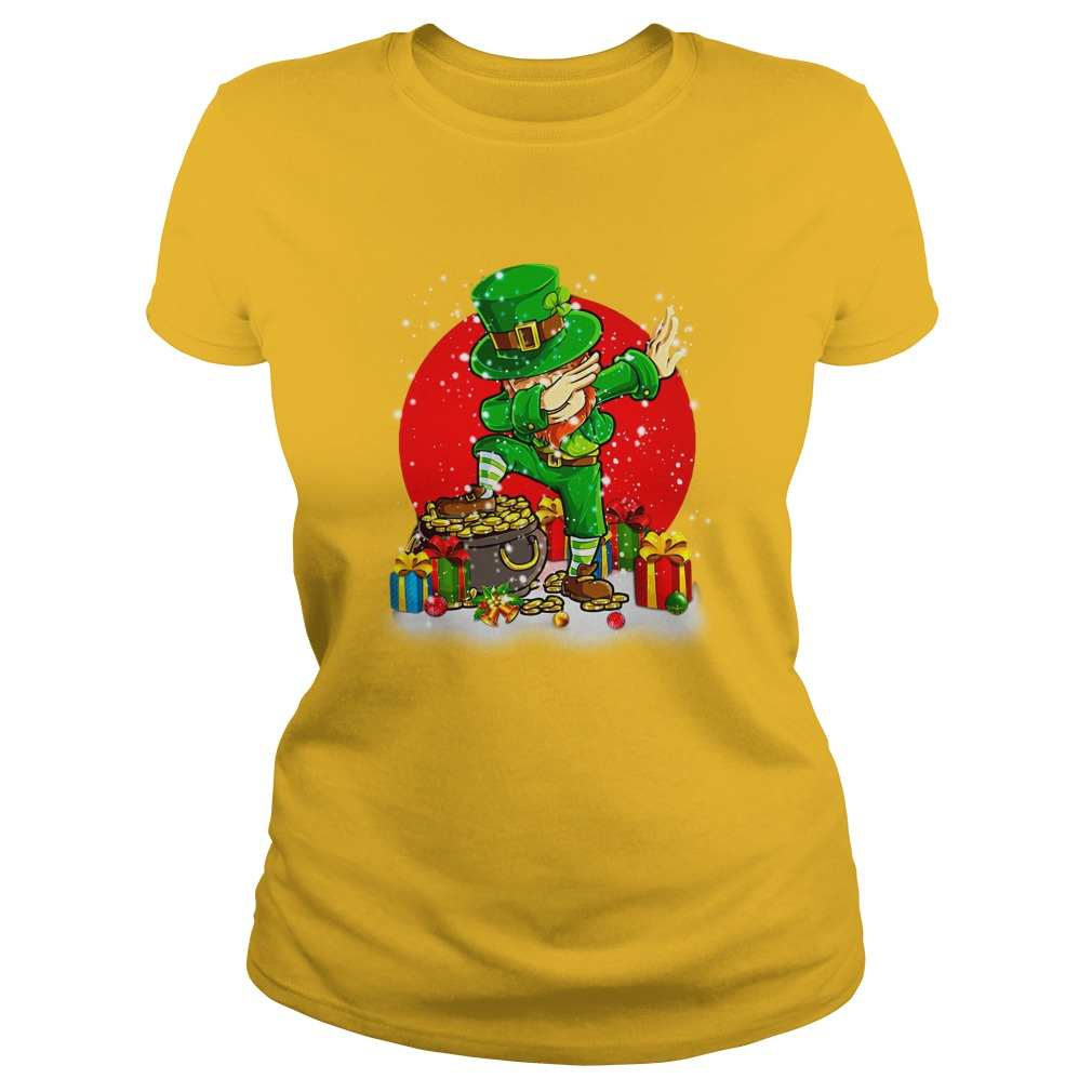 Treasure Dabbing Leprechaun St Patricks Day Christmas shirt lady tee