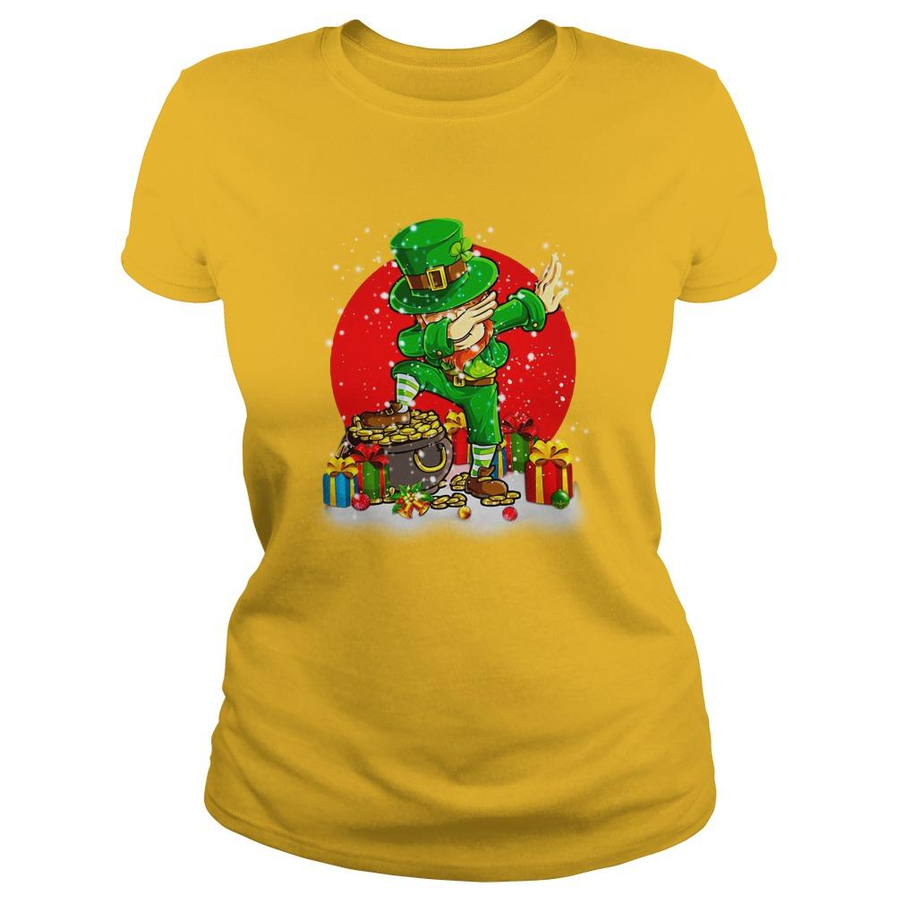 Treasure Dabbing Leprechaun St Patricks Day Christmas shirt lady tee