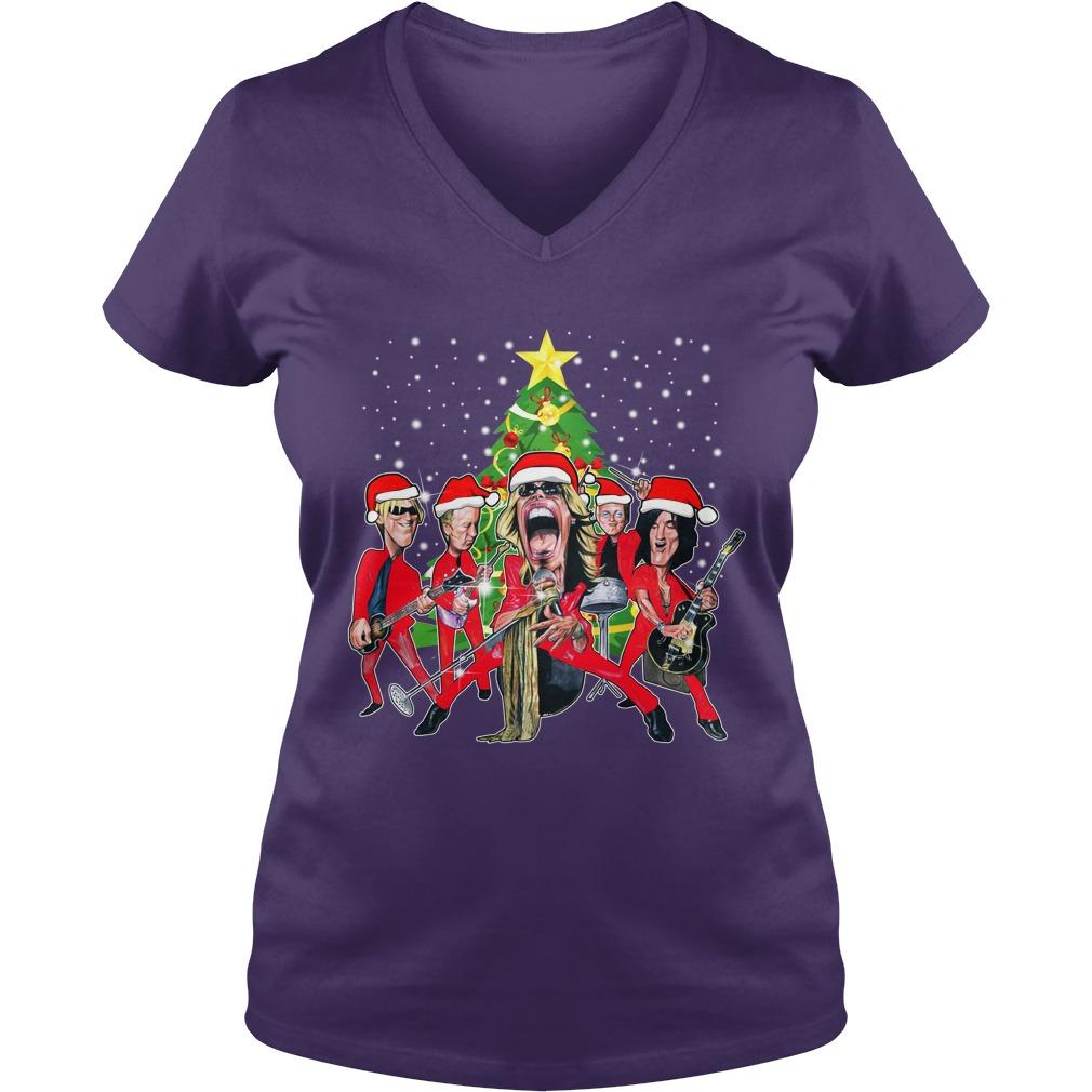 Aerosmith band Christmas tree shirt lady v-neck