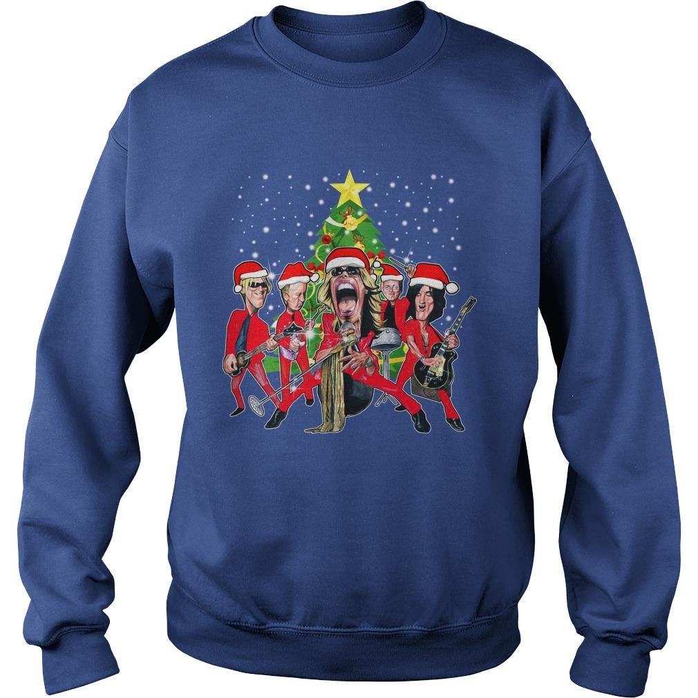 Aerosmith band Christmas tree shirt sweat shirt