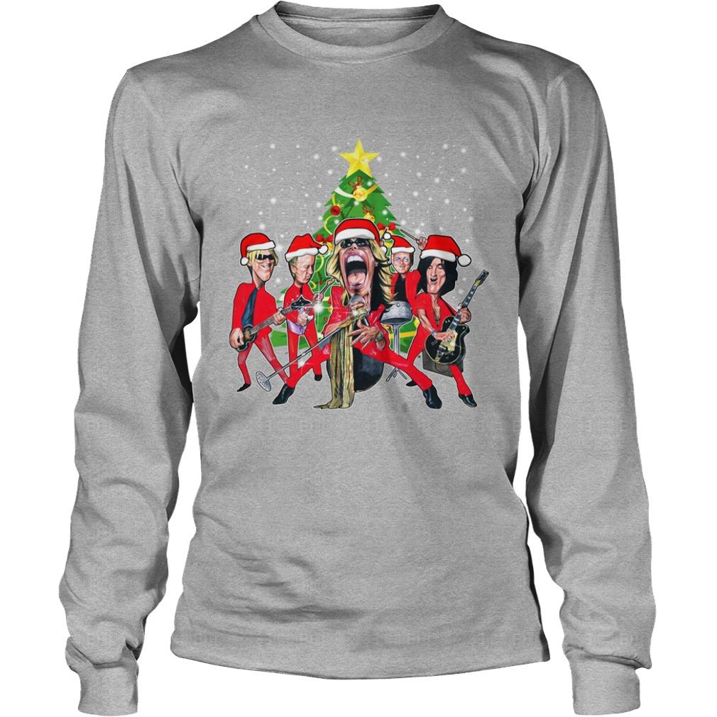 Aerosmith band Christmas tree shirt unisex longsleeve tee