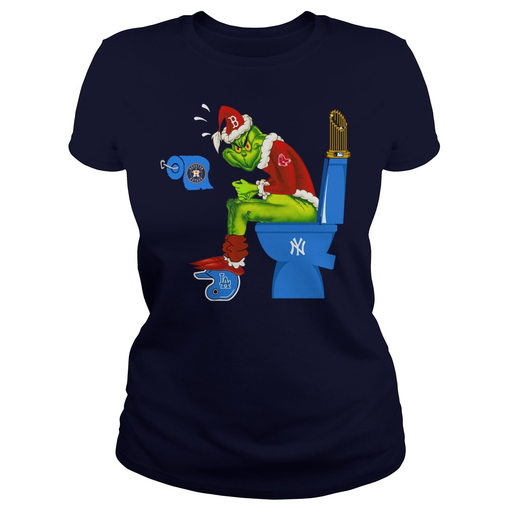 Boston Red Sox Grinch shit on New York Yankees, Los Angeles Dodgers, Houston Astros shirt lady tee