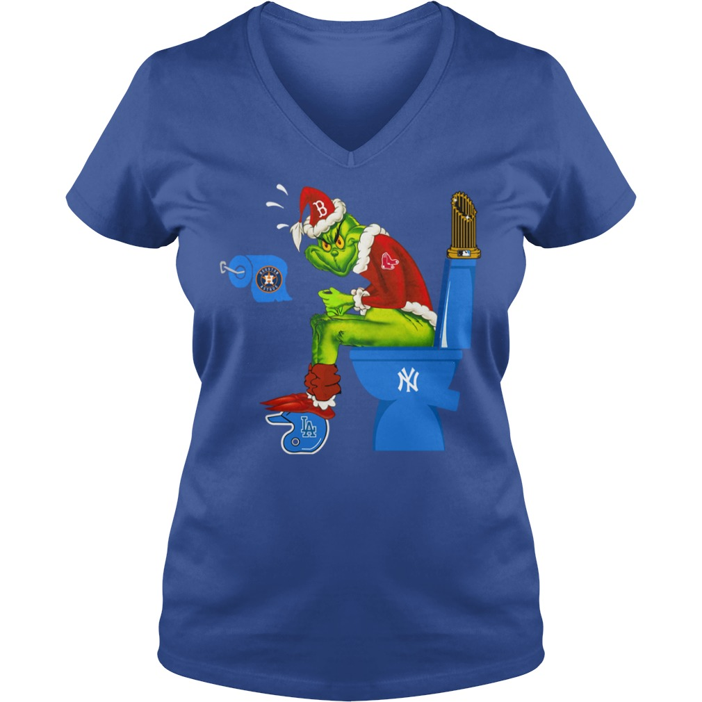 Boston Red Sox Grinch shit on New York Yankees, Los Angeles Dodgers, Houston Astros shirt lady v-neck
