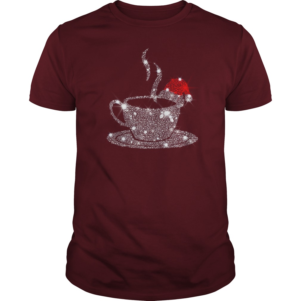 Christmas Coffee Red Santa Hat Diamond Glitter shirt guy tee