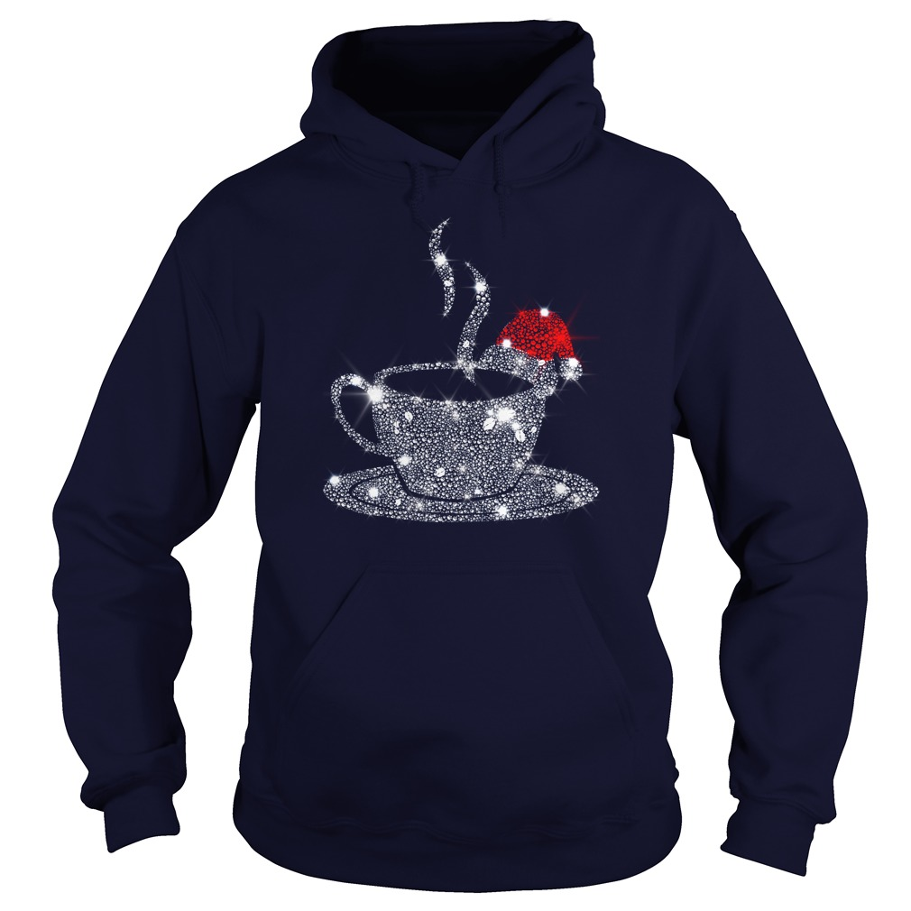 Christmas Coffee Red Santa Hat Diamond Glitter shirt hoodie