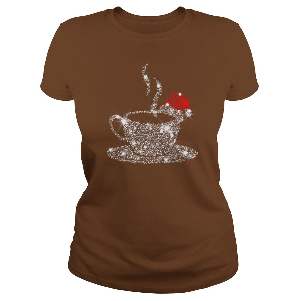 Christmas Coffee Red Santa Hat Diamond Glitter shirt lady tee