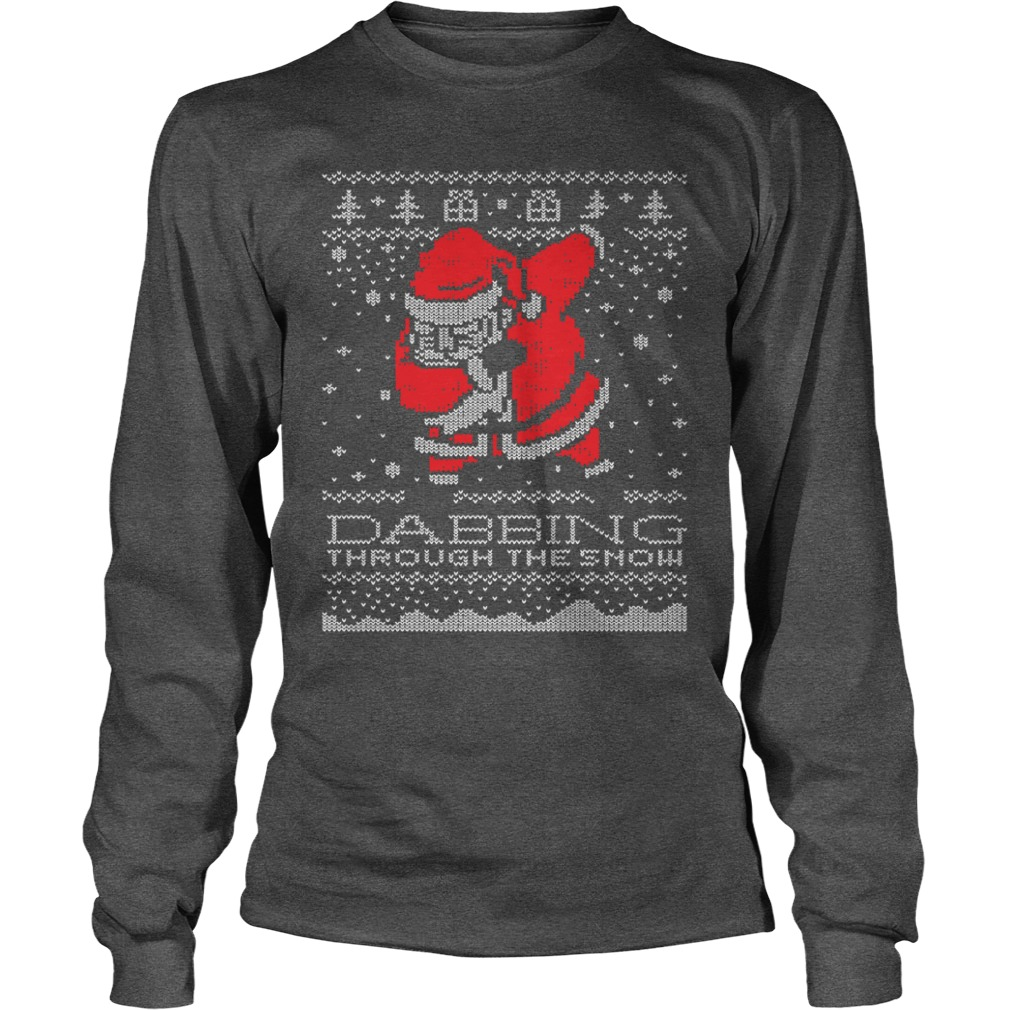 Christmas Santa Dabbing through the snow ugly Christmas sweater unisex longsleeve tee