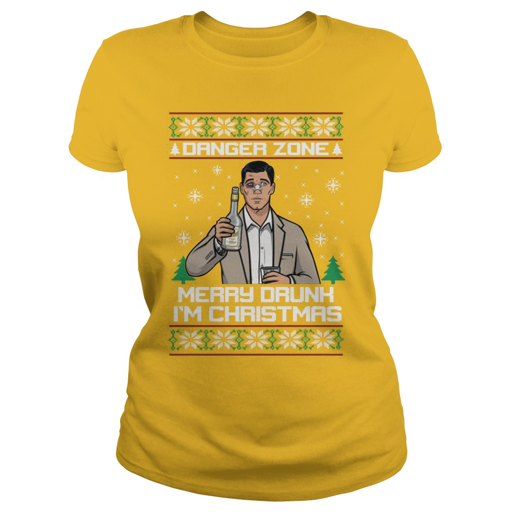 Danger Zone Merry Drunk I'm Christmas Ugly Sweater lady tee