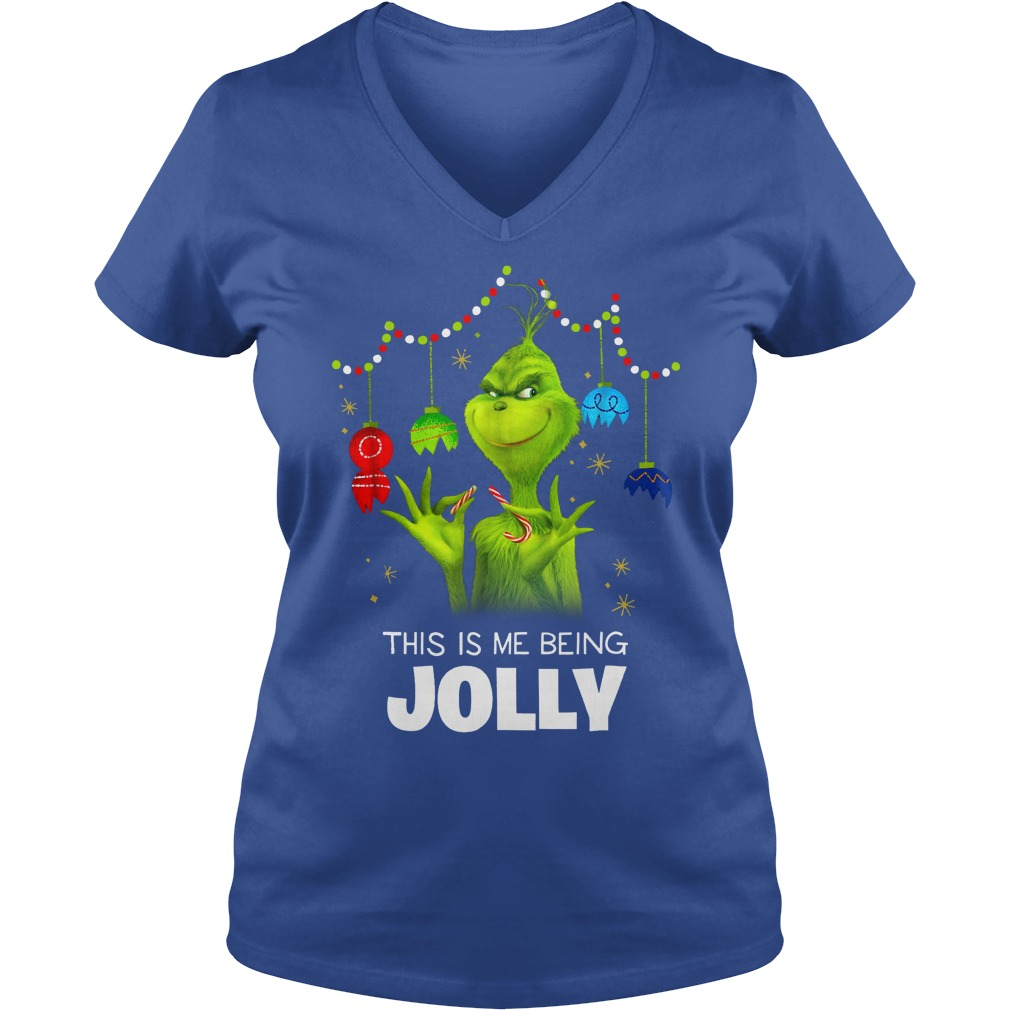 Dr. Seuss The Grinch Being Jolly shirt lady v-neck