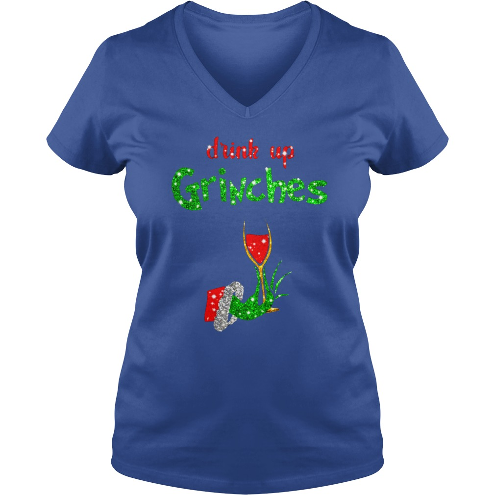 Drink Up Grinches Holds Wine Glass Glitter shirt lady v-neck