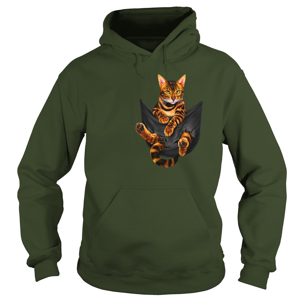 Funny Bengal Cat In Pocket shirt hoodie