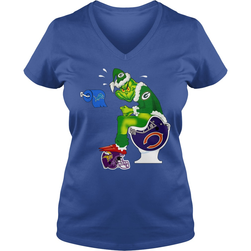 Green Bay Packers Grinch shit on Bears, Vikings and Lions shirt lady v-neck