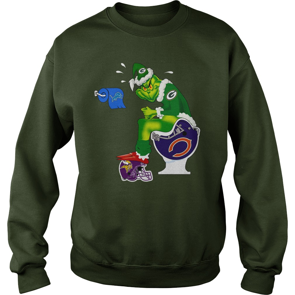 Green Bay Packers Grinch shit on Bears, Vikings and Lions shirt sweat shirt