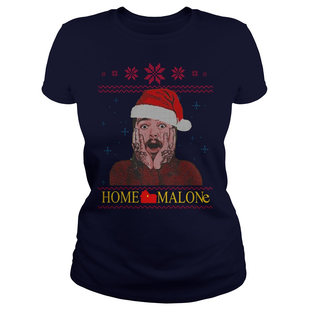 Home Malone Ugly Christmas Sweater lady tee