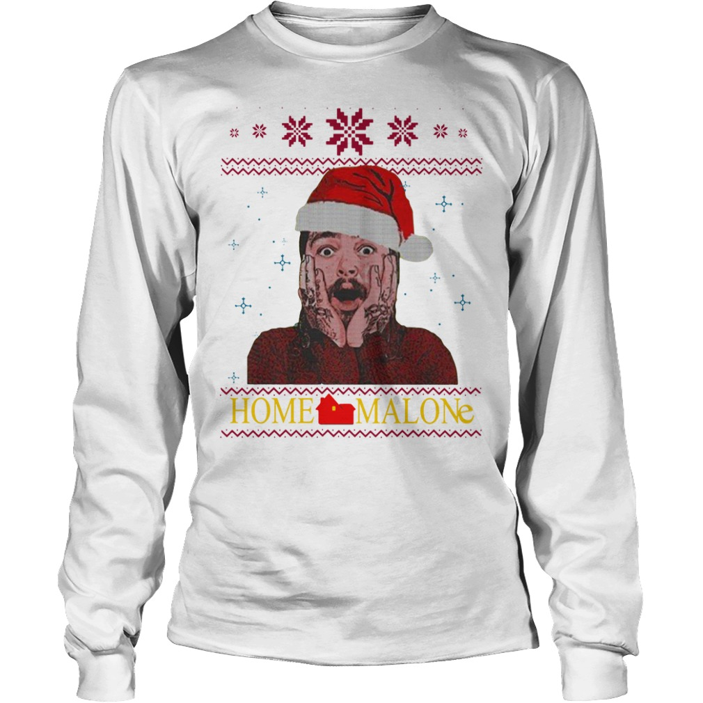 Home Malone Ugly Christmas Sweater unisex longsleeve tee