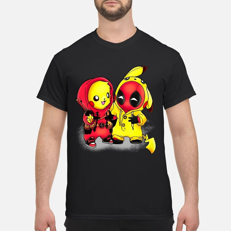 1a6e82c5 Pikapool Pikachu Pokemon and Deadpool shirt guy tee - Pikachu deadpool shirt