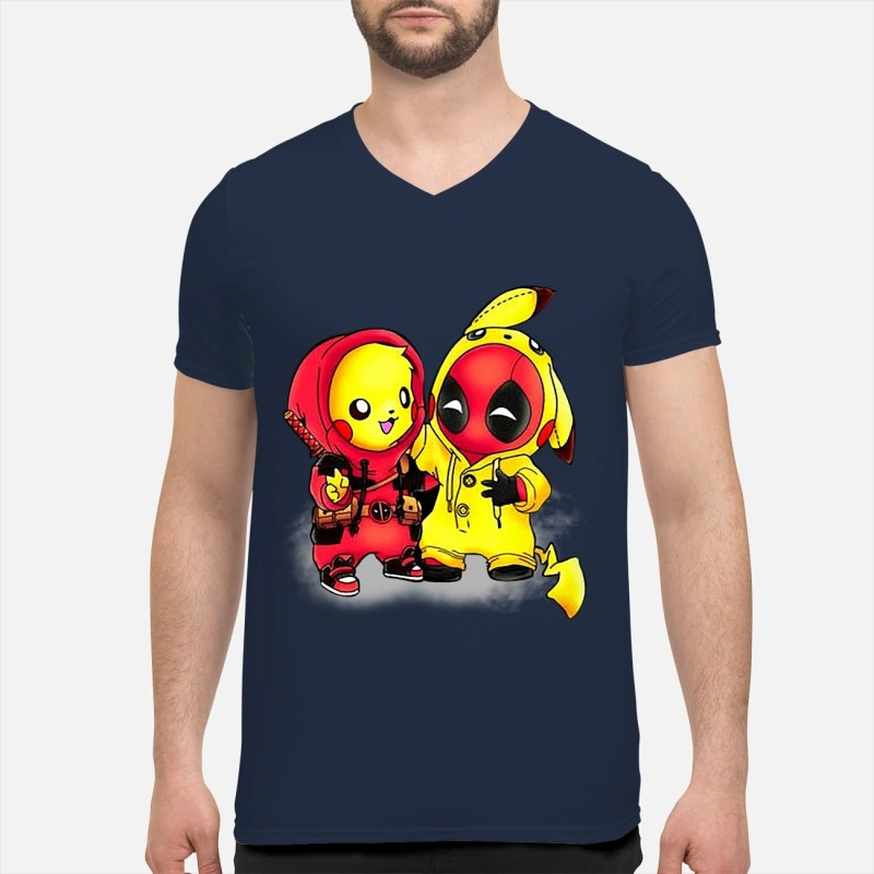 Pikapool Pikachu Pokemon and Deadpool shirt guy v-neck - Pikachu deadpool shirt