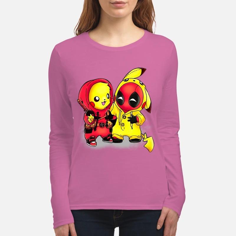 Pikapool Pikachu Pokemon and Deadpool shirt long sleeved tee - Pikachu deadpool shirt