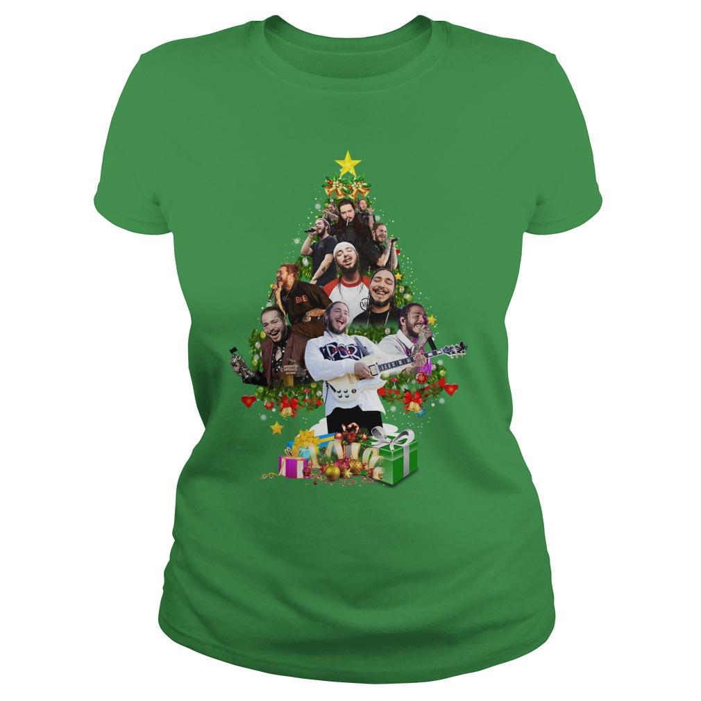 Post Malone Christmas Tree shirt lady tee