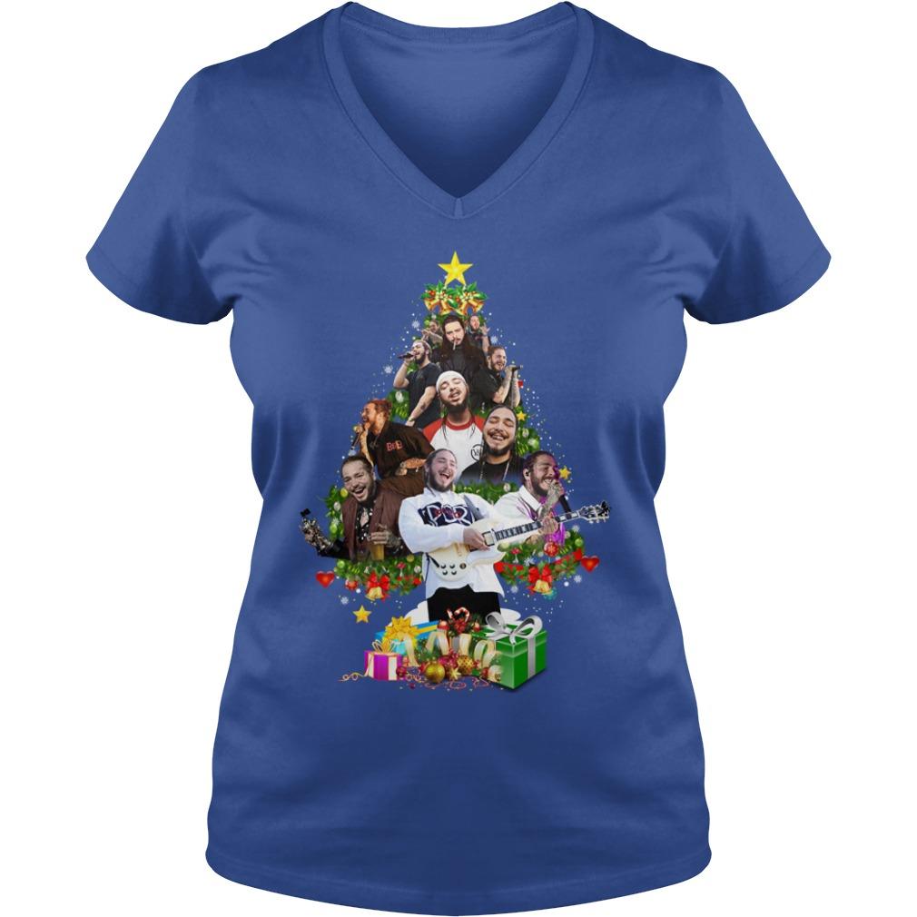 Post Malone Christmas Tree shirt lady v-neck