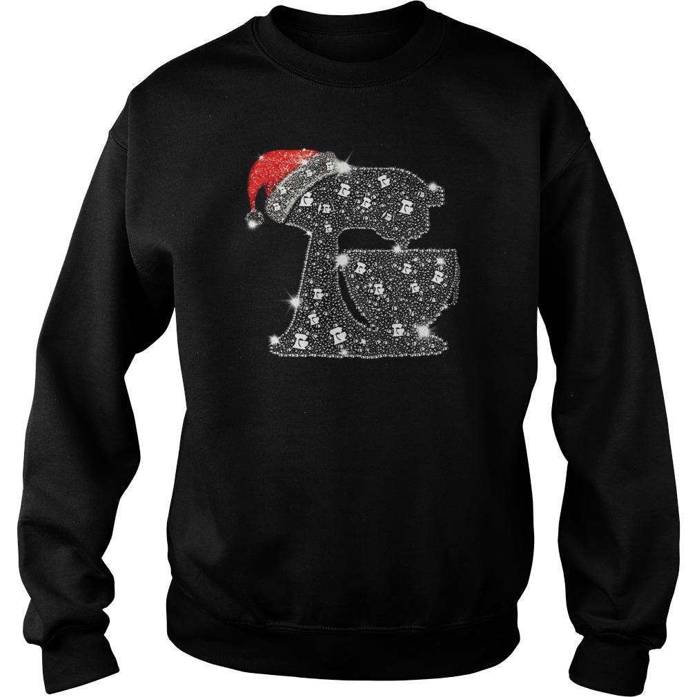 Snoopy Baking Glitter and rhinestones with santa hat shirt sweat shirt