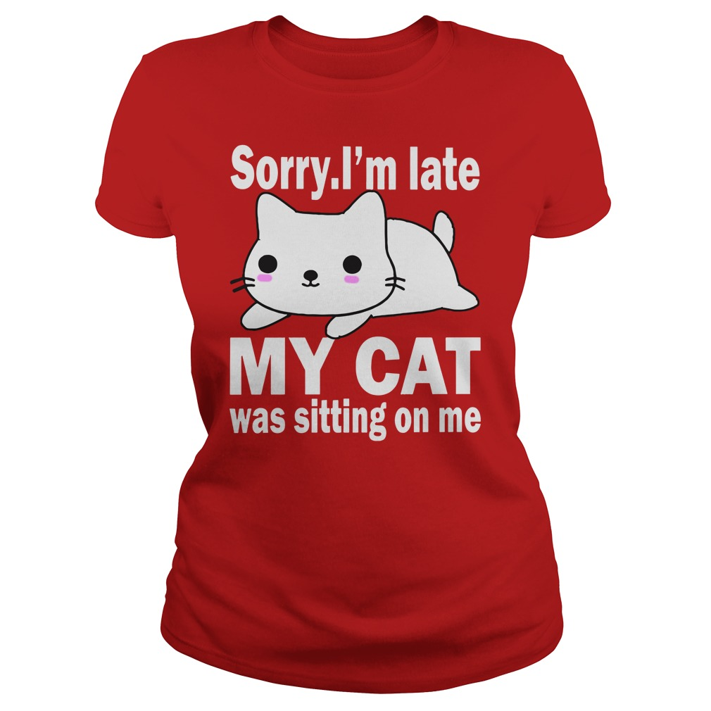 Sorry I'm late my cat was sitting on me shirt lady tee