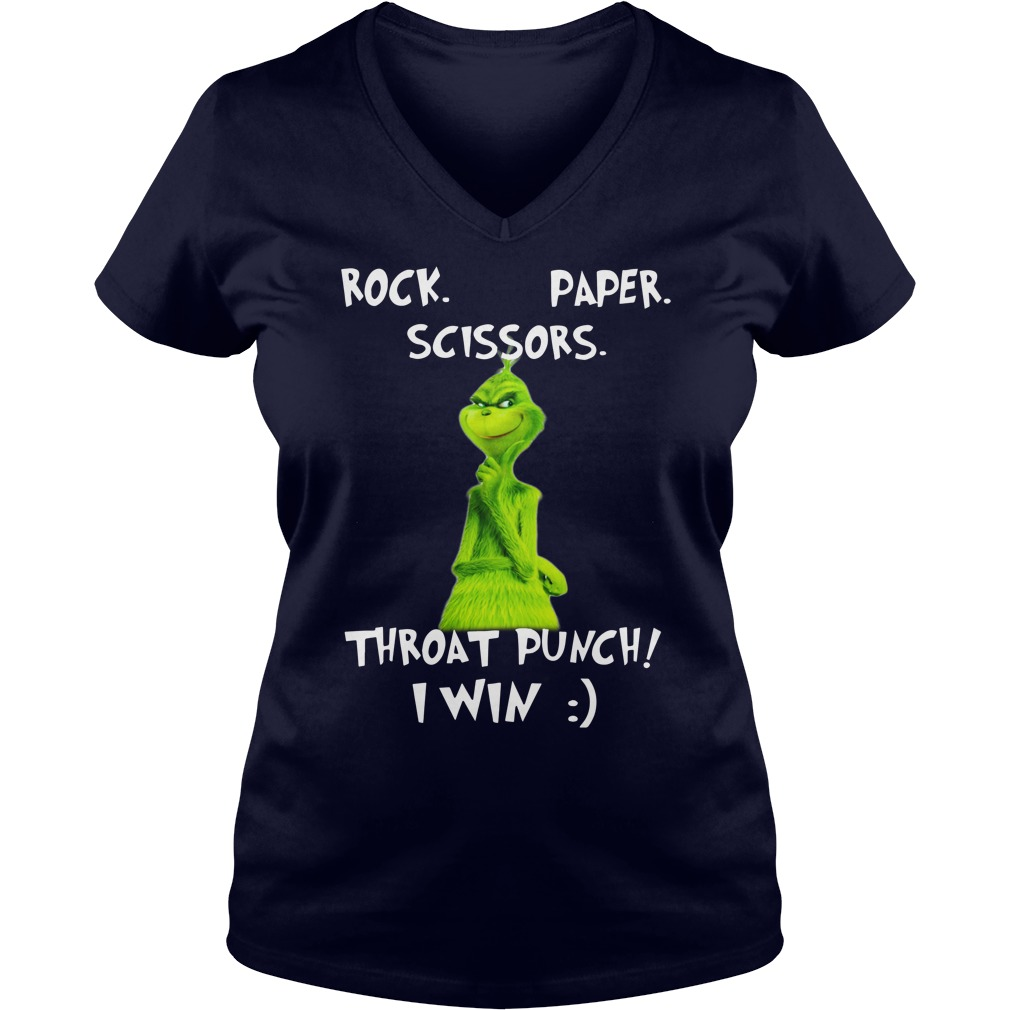 The Grinch rock paper scissors throat punch I win shirt lady v-neck