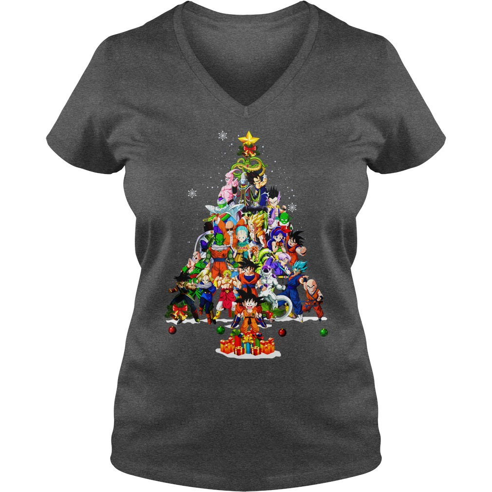 Dragonball Christmas Tree Shirt lady v-neck